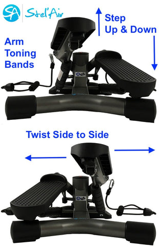 Mini Standing Desk Twister Stepper with Toning Bands TSWT-482