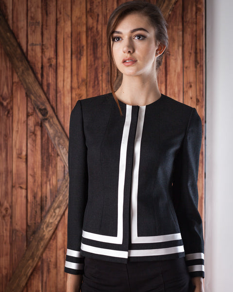 Black Blazer with Double White Lining