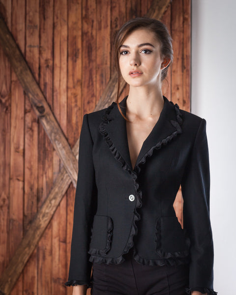 Frilly Edged Black Blazer