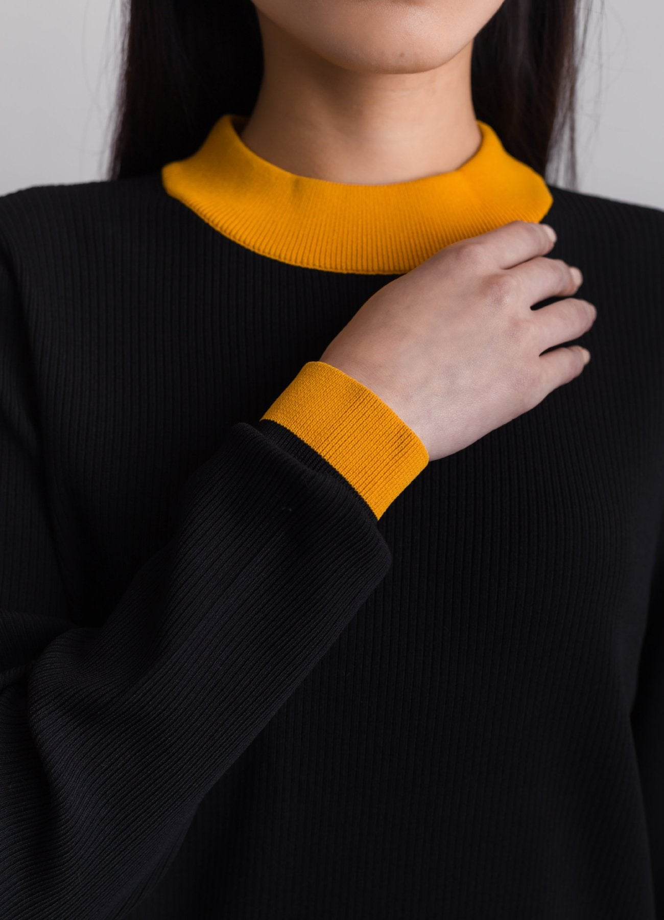 Ribbed asymmetrical sweater