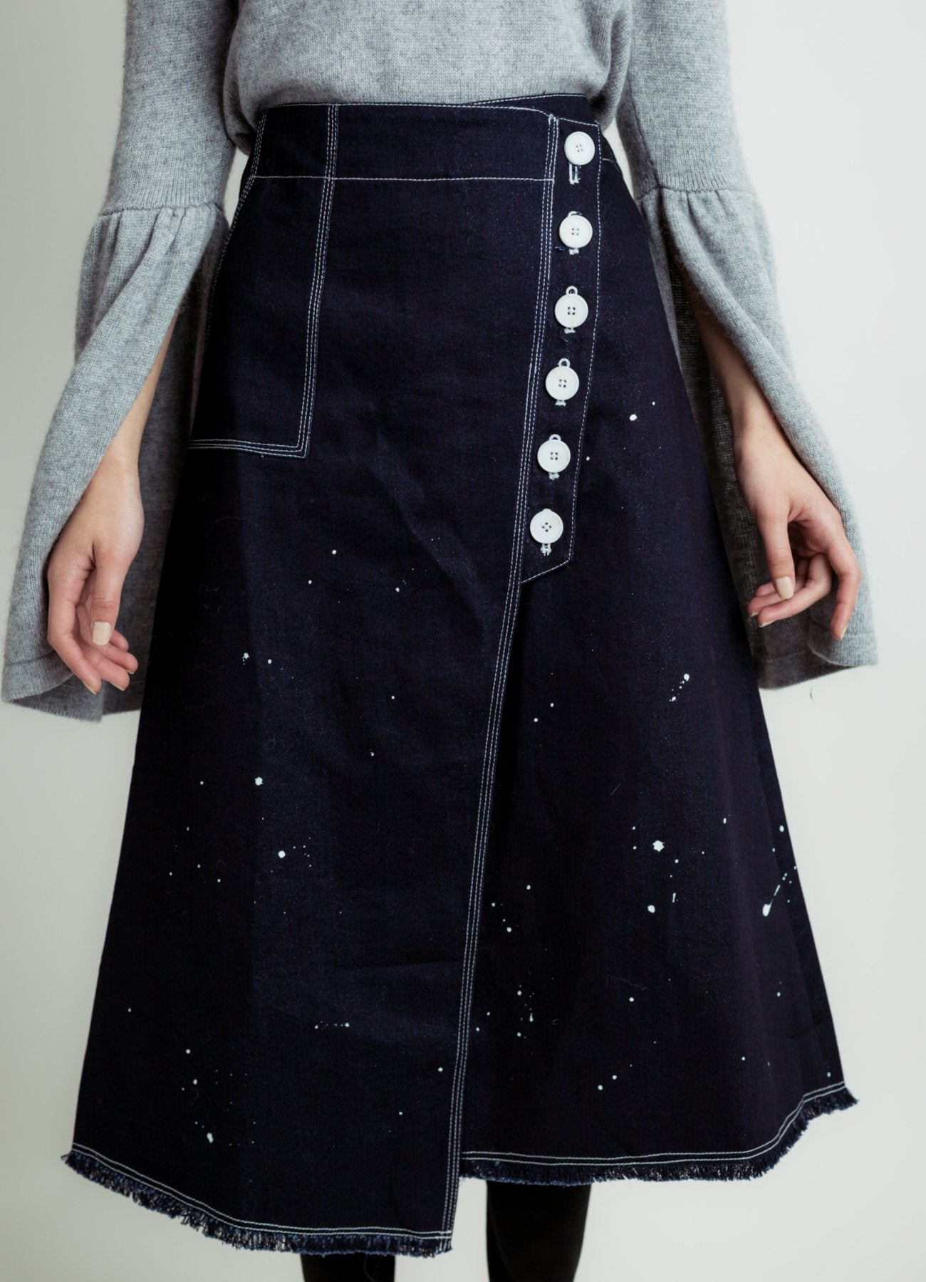 Paint splatter denim skirt