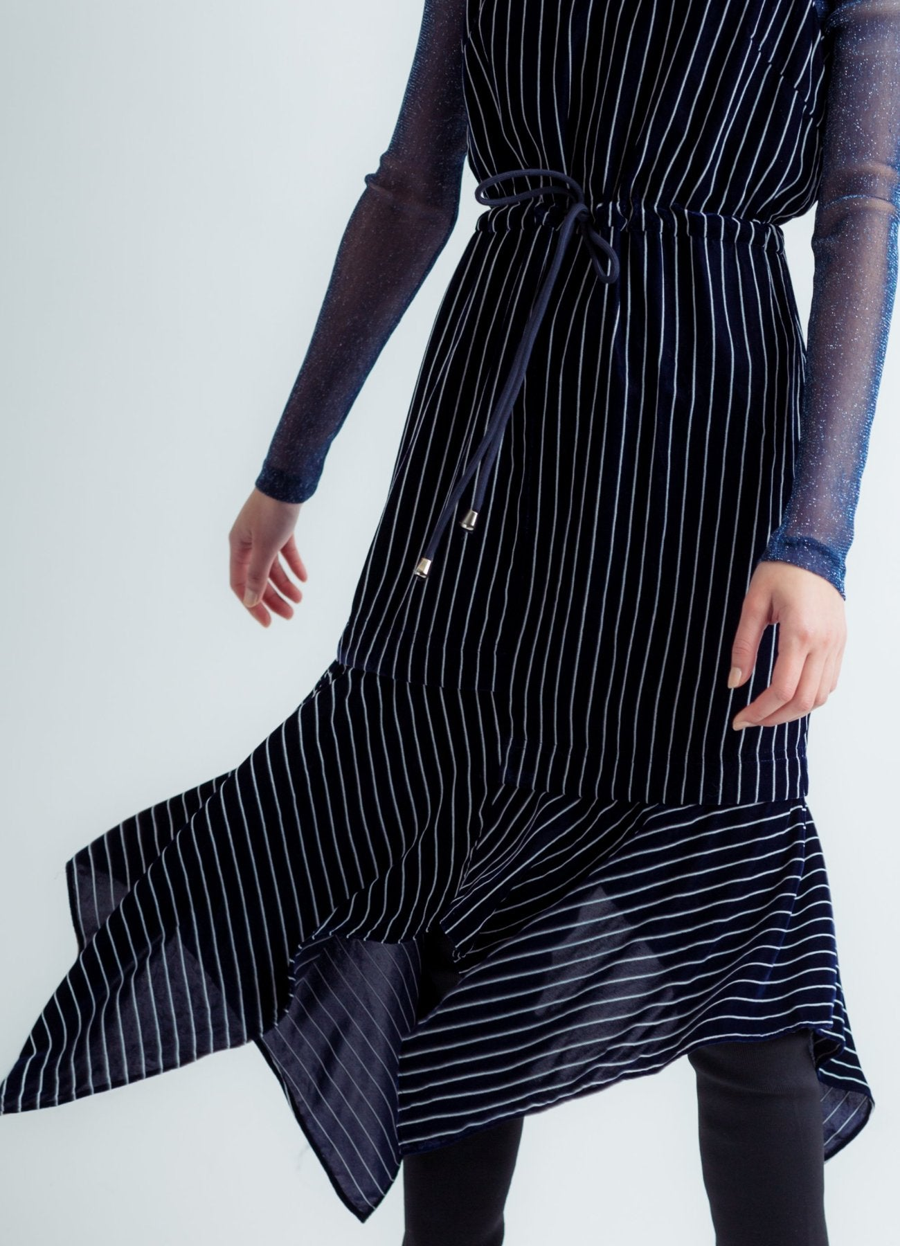 Stripe velour dress