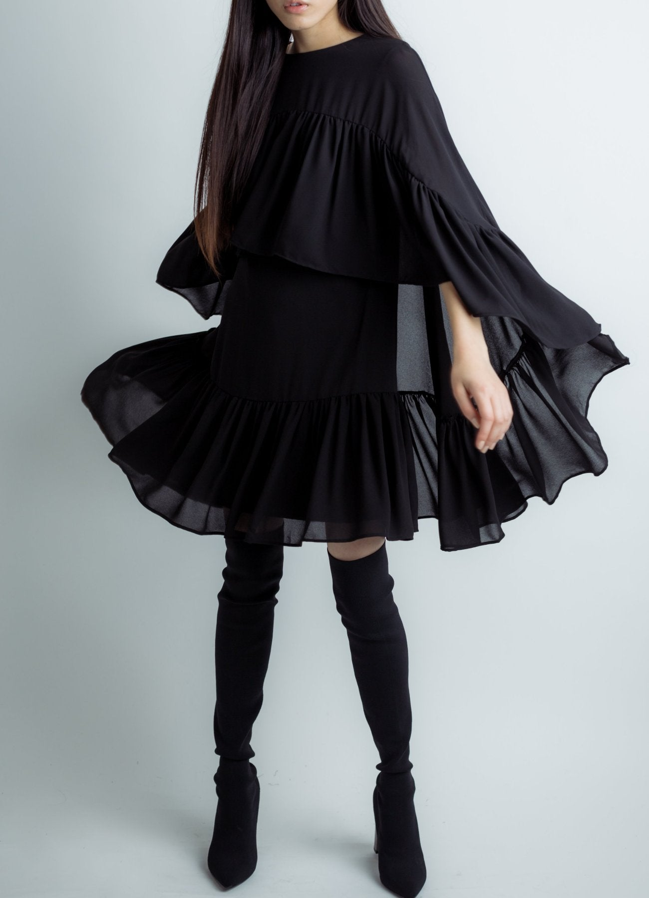 Chiffon cape dress