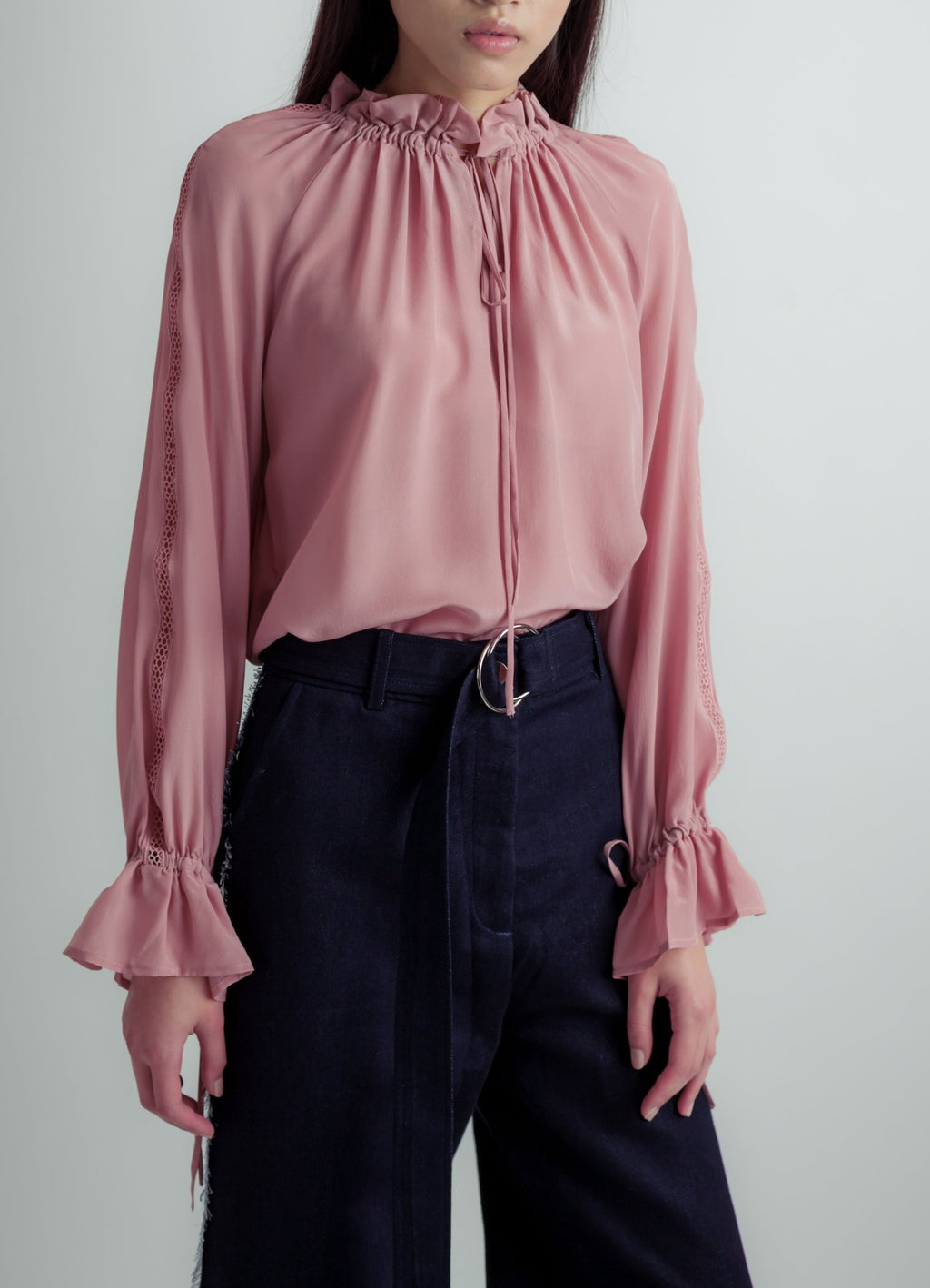Drawstring silk blouse