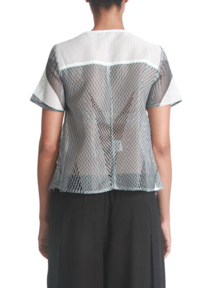 Cropped graphic print mesh top