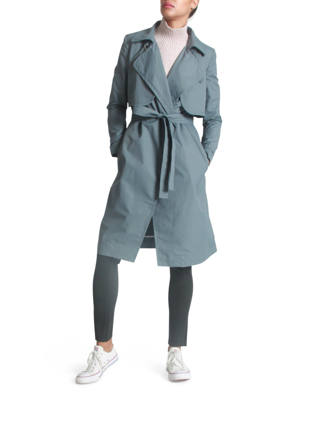 Self-tie trenchcoat