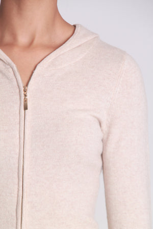 Hooded cashmere zipper sweater