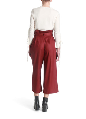 Gathered pleats self-tie culottes