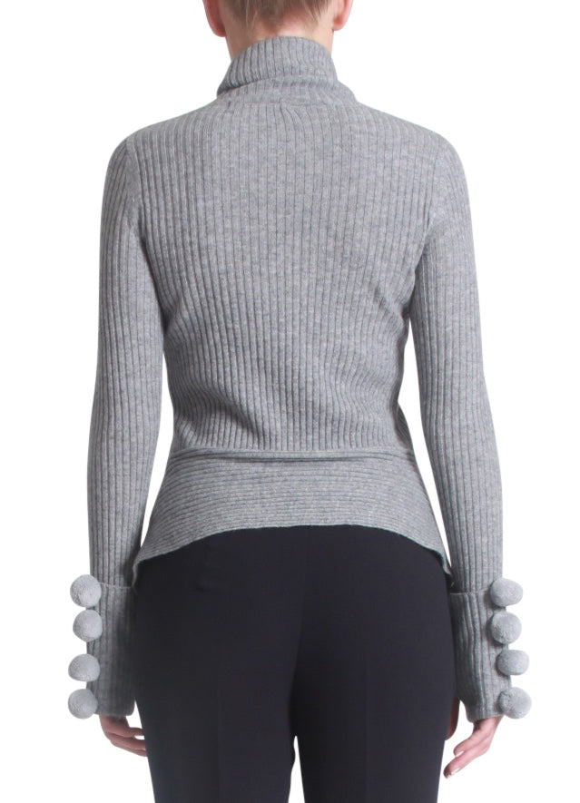 Cashmere pompom sleeves sweater