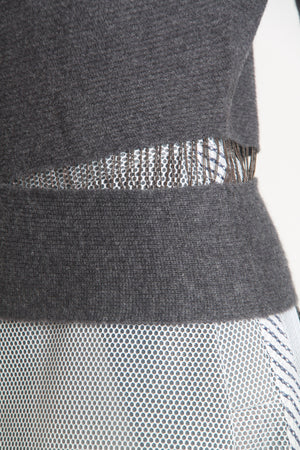 Torn-chain cashmere turtleneck sweater