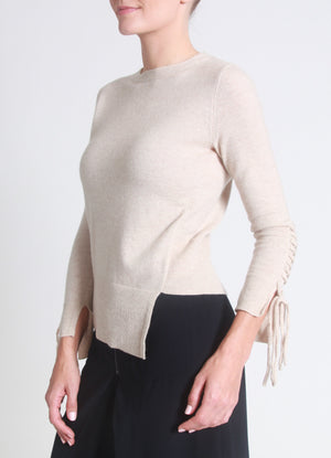 Asymmetrical lace-up sleeves cashmere sweater