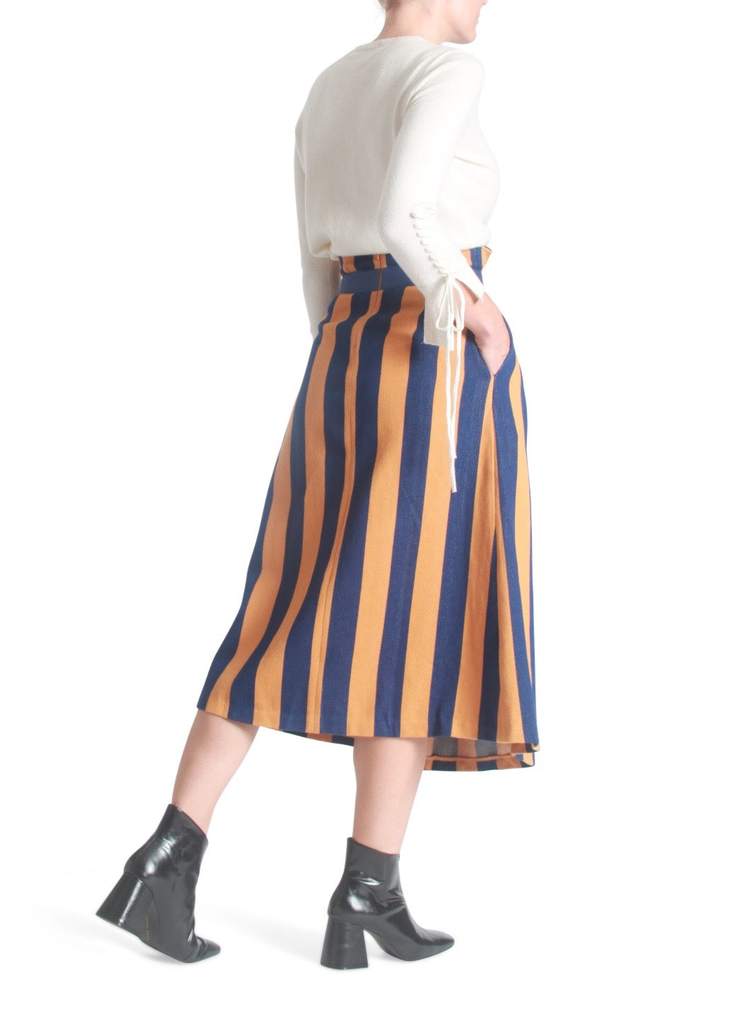 Striped pleated midi skirt
