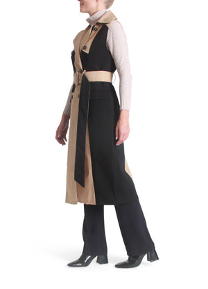 Color-block trench vest
