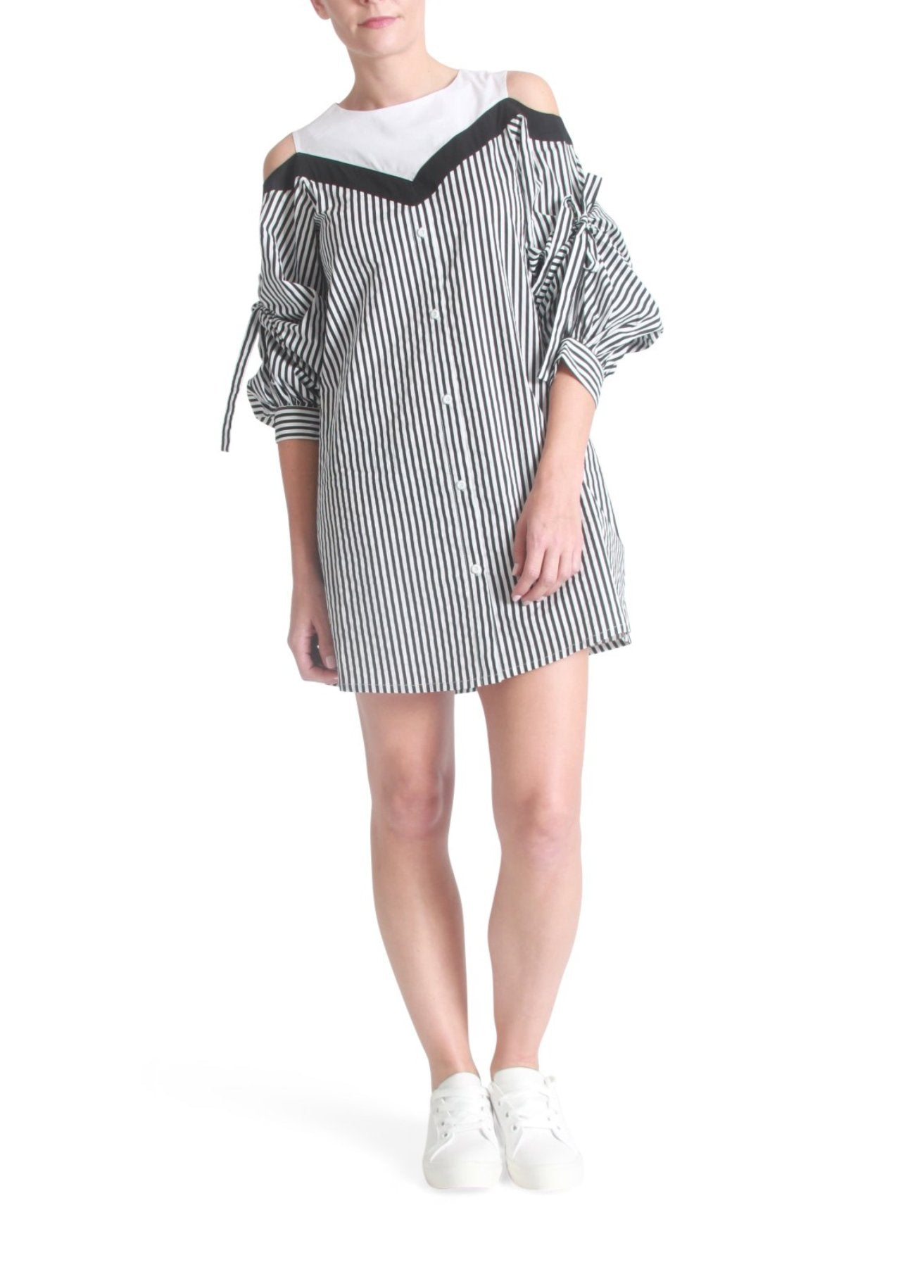 Open-shoulder stripe dress