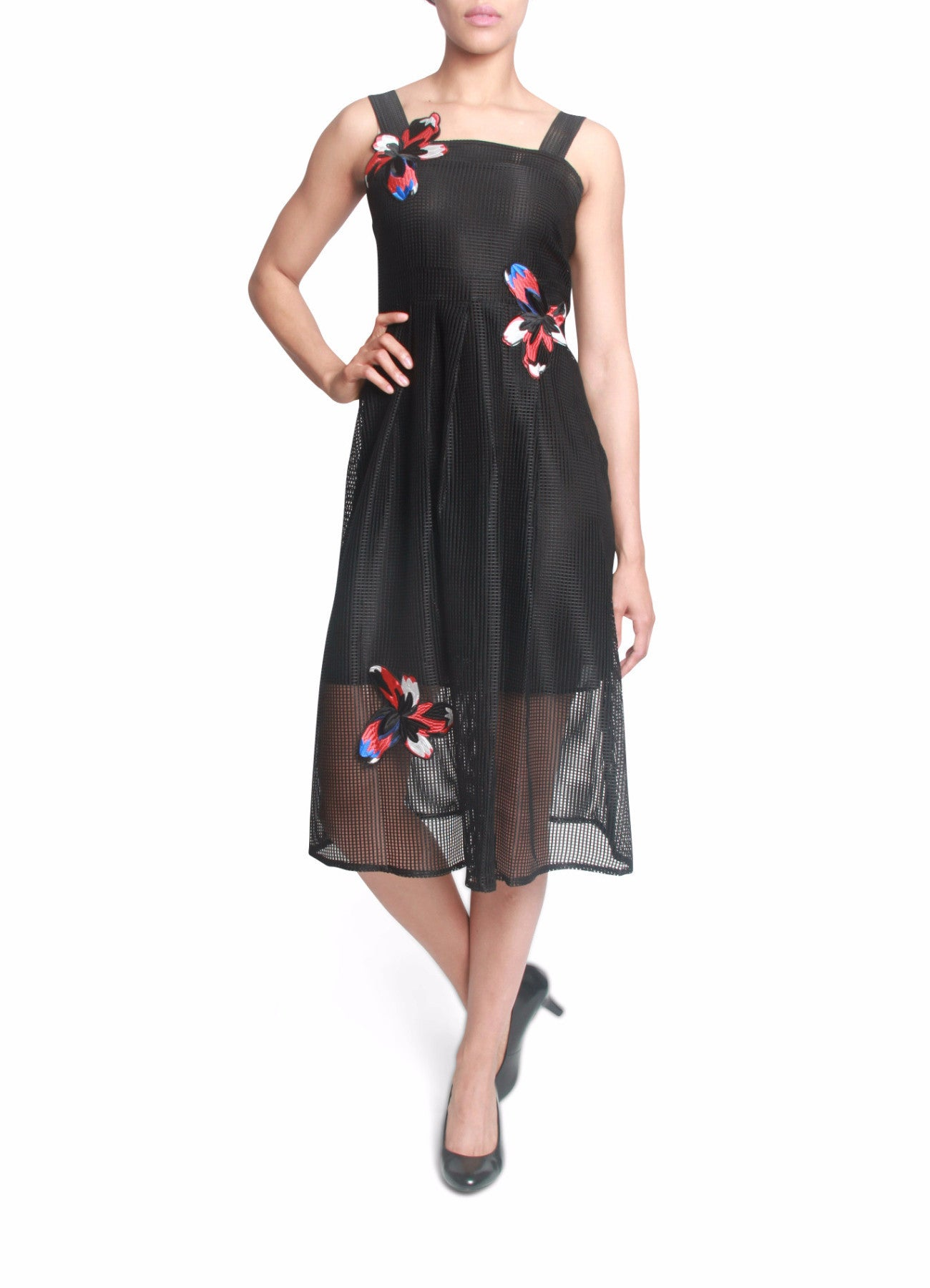 Mesh dress with flower applique