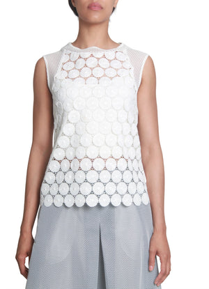 Sleeveless crocheted lace top