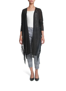Long fringed black cardigan