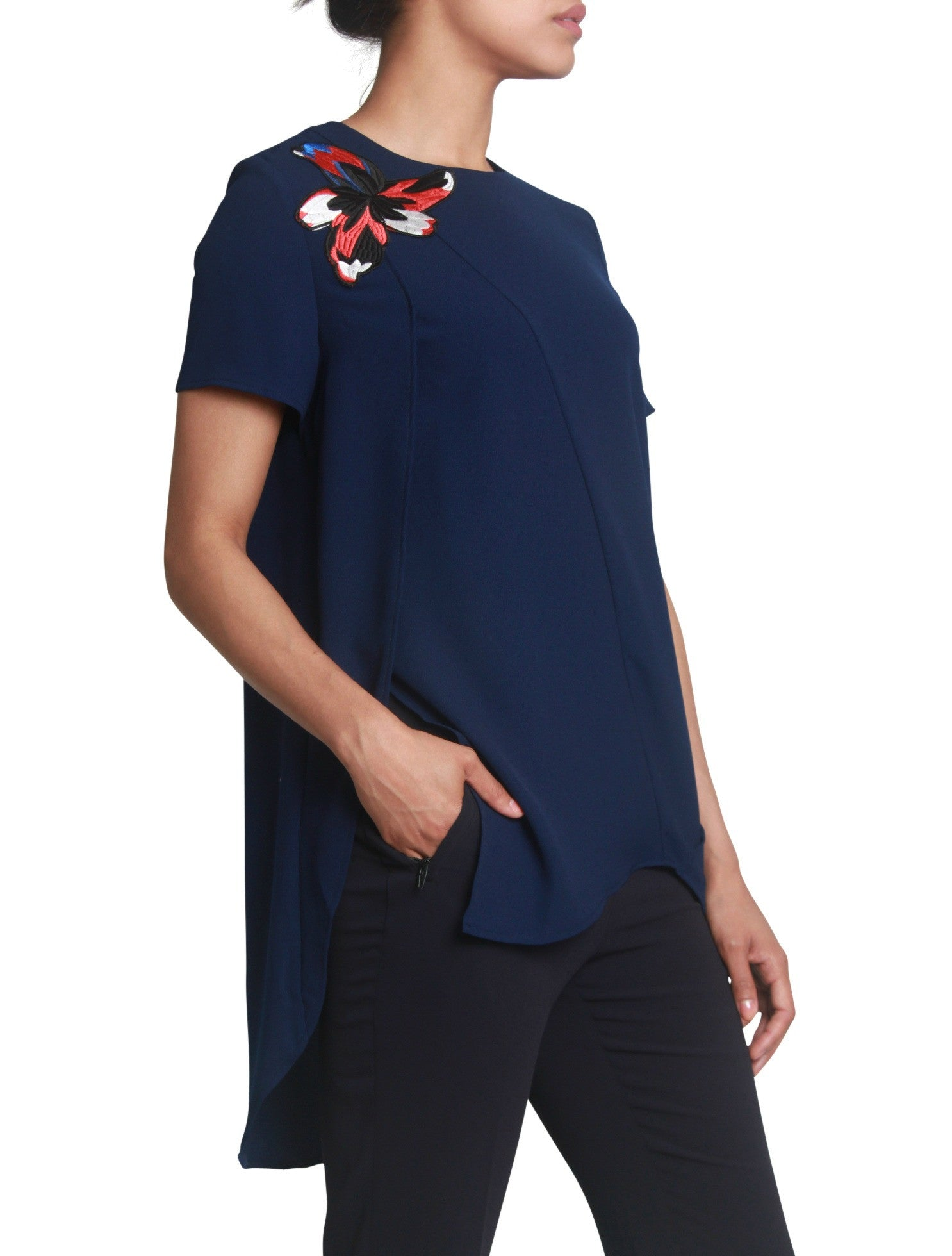 Flower applique asymmetrical blouse