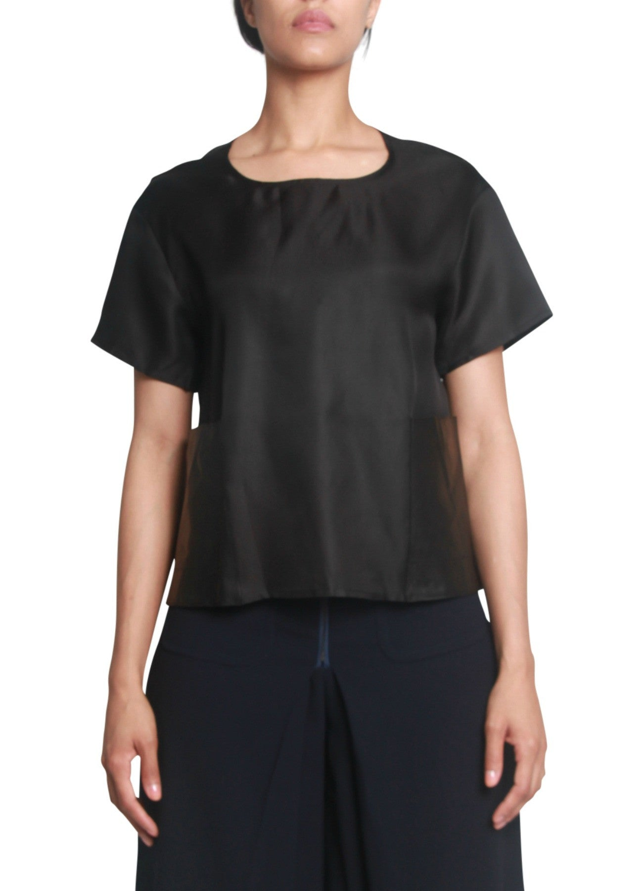 Leather pocket silk cropped top