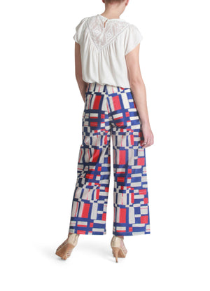 Graphic print wide pants