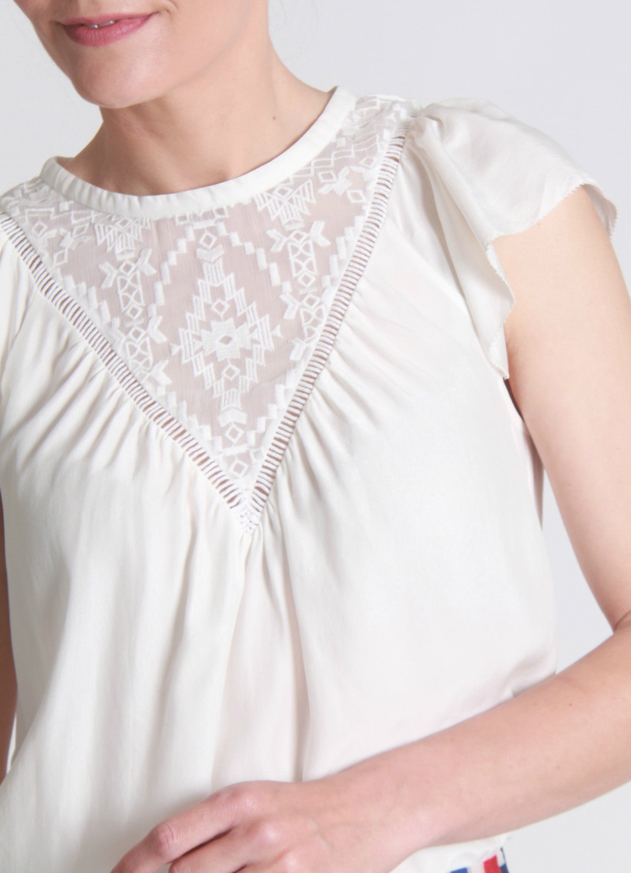 Embroidered panel silk top