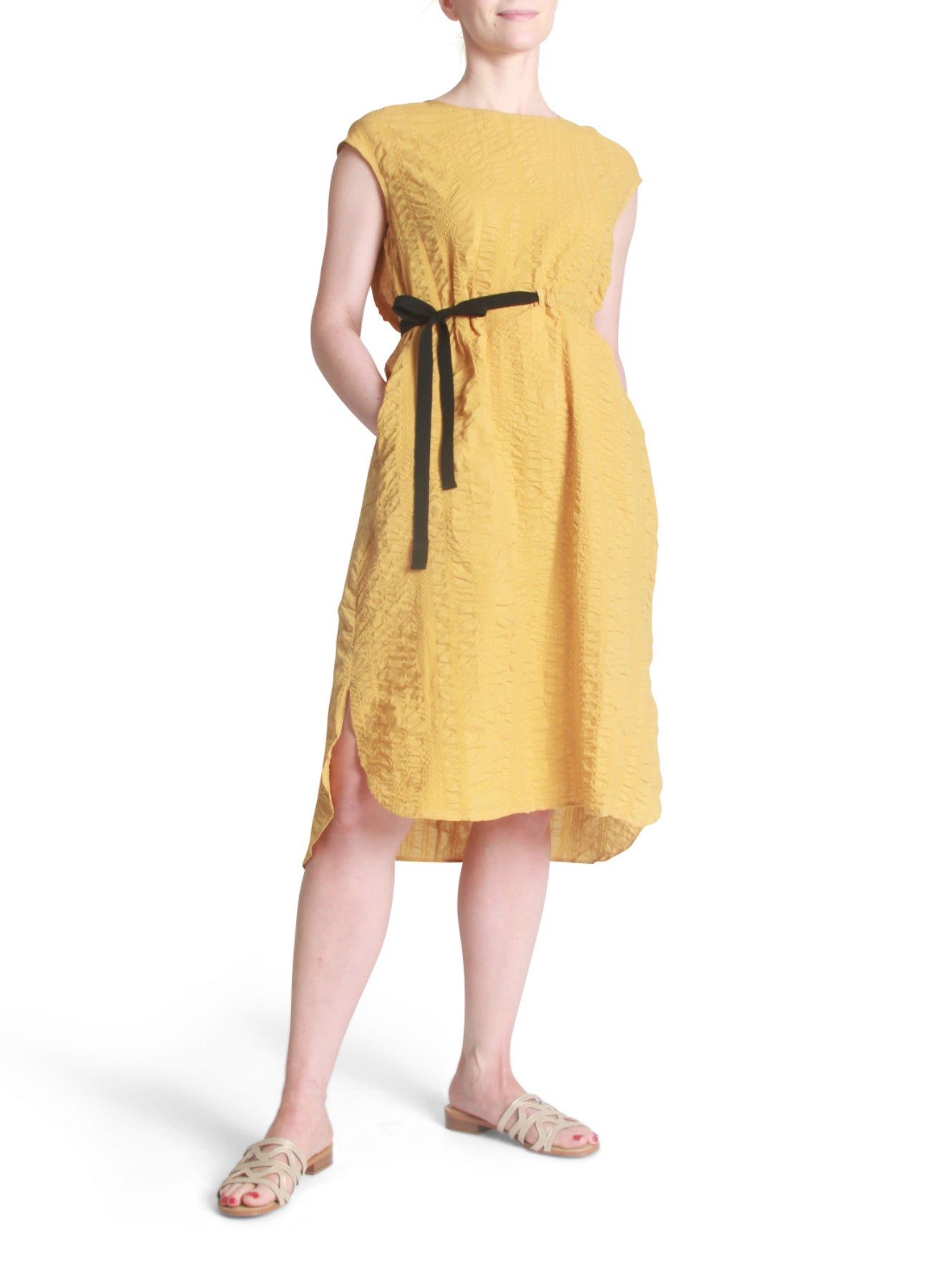 Crepe drawstring dress