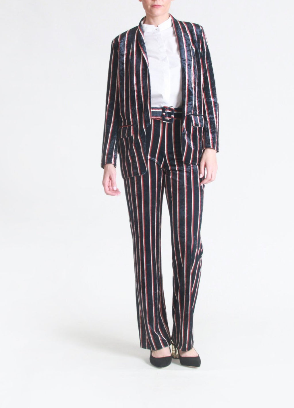 Stripe velvet pants