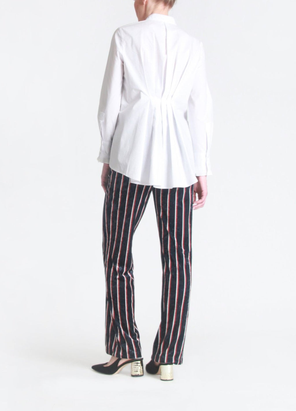 Pleated back cotton-poplin shirt