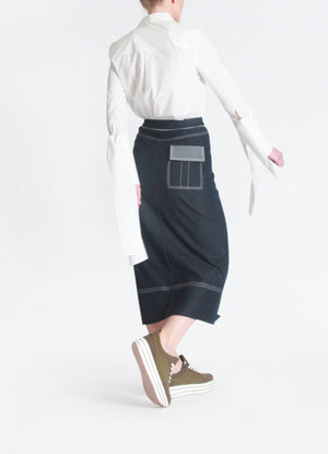 Front slit midi denim skirt