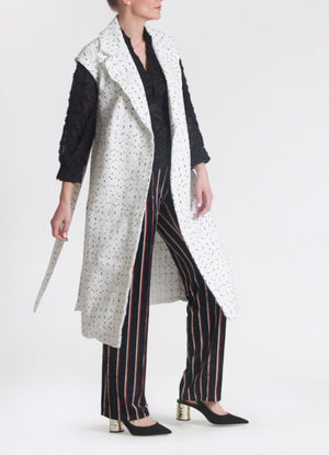 Embroidered long woven vest