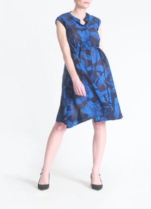 Brush stroke drawstring dress