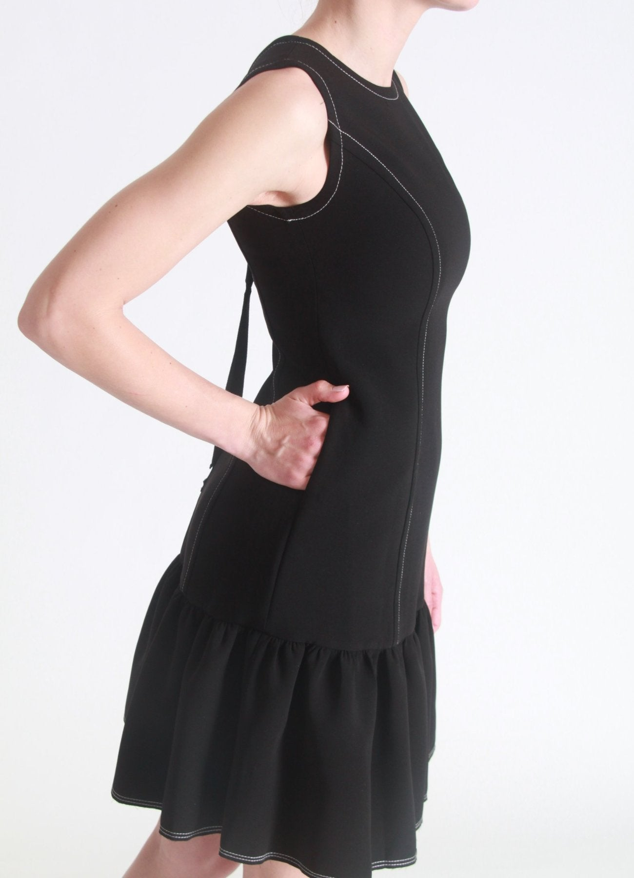 V-back peplum dress