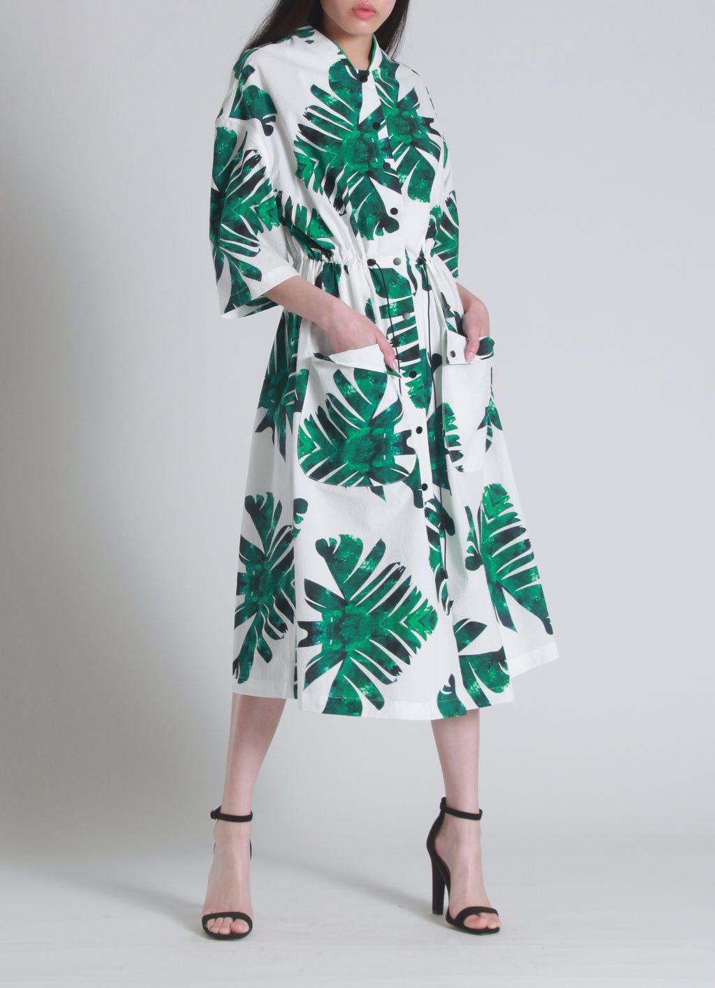 Palm print trench dress