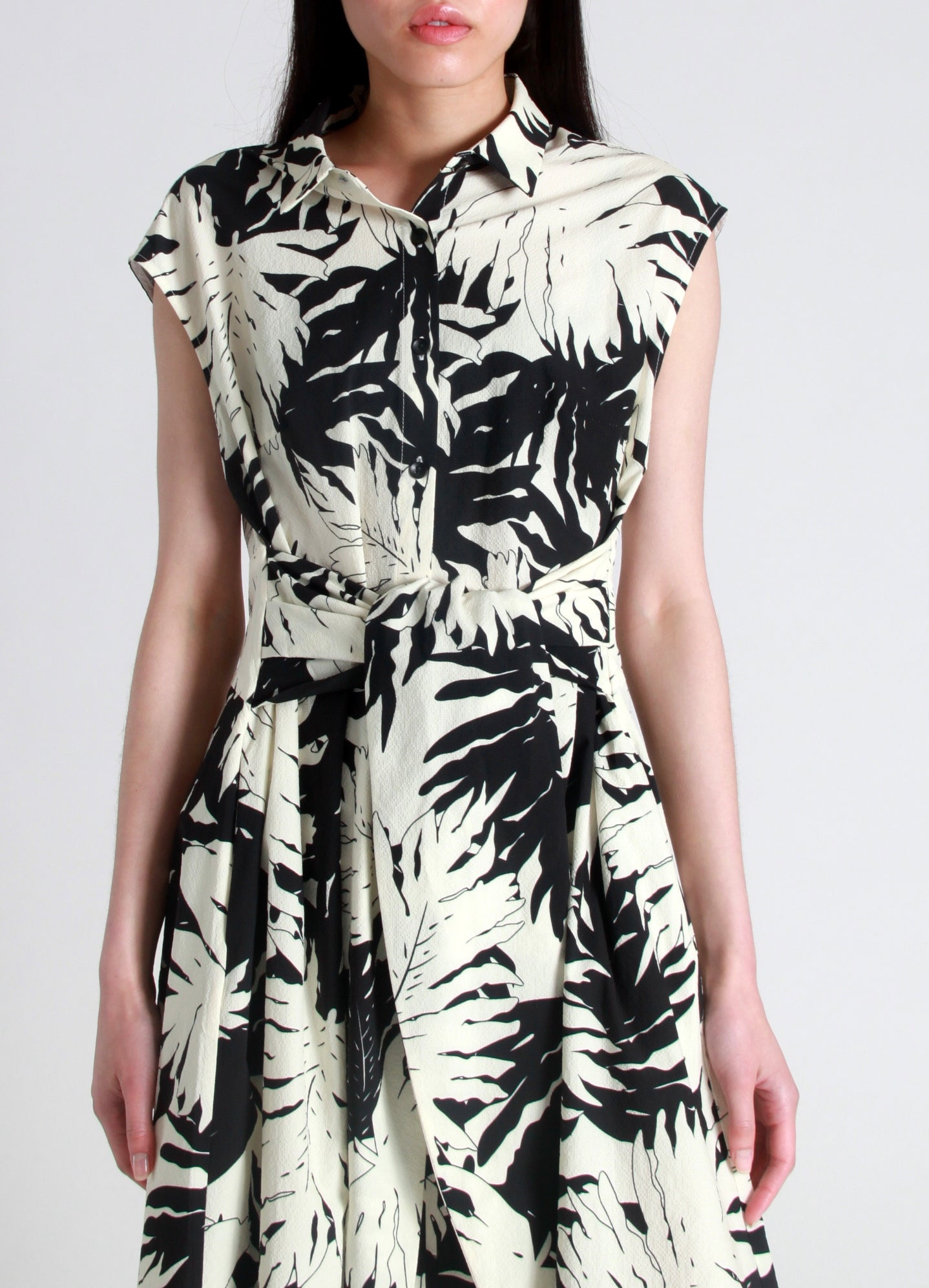 Crepe palm print dress