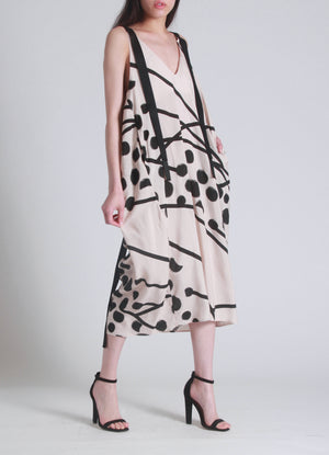 Drawstring back printed dress