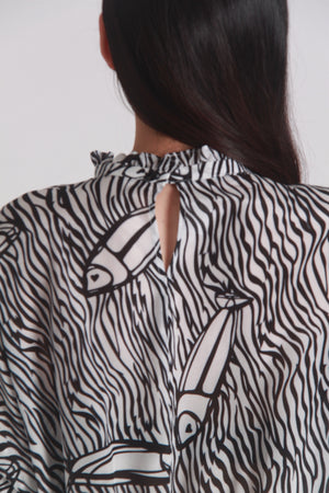 Silk fish print top