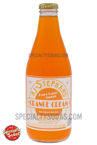 AJ Stephans Orange Cream Soda 12oz Glass Bottle