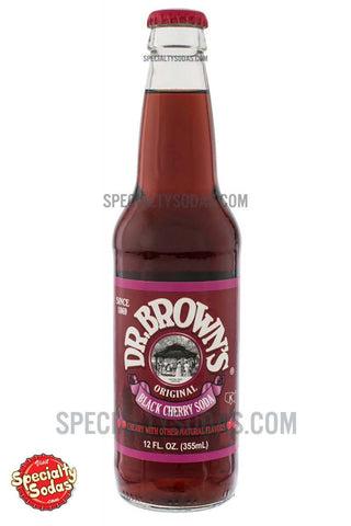 Dr. Brown's Black Cherry Soda 12oz Glass Bottle
