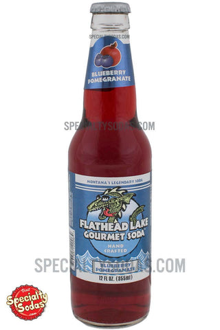Flathead Lake Blue Pomegranate Soda 12oz Glass Bottle