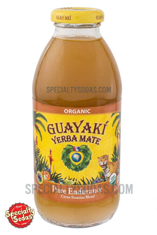Guayaki Yerba Mate Pure Endurance Citrus Stamina Blend 16oz Glass Bottle