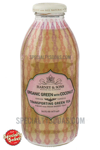 Harney & Sons Organic Green with Coconut Transporting Green Tea 16oz Glass Bottle