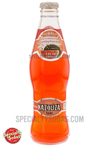 Kazouza Watermelon Sparkling Fruit Drink 9oz Glass Bottle
