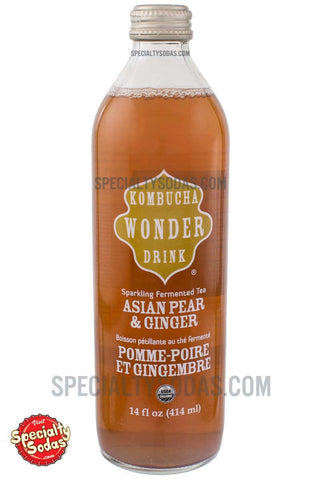 Kombucha Wonder Drink Asian Pear & Ginger Sparkling Fermented Tea 14oz Glass Bottle
