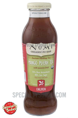 Numi Enliven Organic Mango Pu-Erh Tea 12oz Glass Bottle
