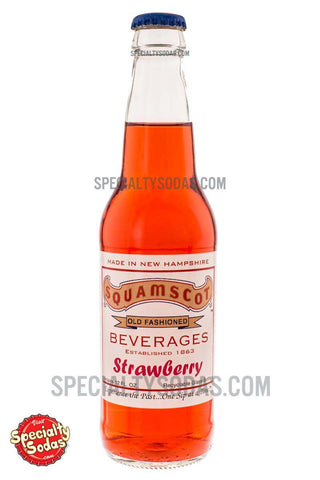 Squamscot Old Fashioned Strawberry Soda 12oz Glass Bottle
