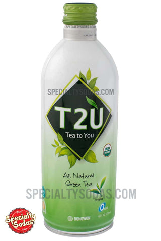 T2U Tea To You Organic All Natural Green Tea Original 16oz Aluminum Bottle Can