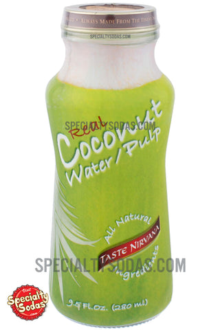 Taste Nirvana Real Coconut Water / Pulp 9.5oz Glass Bottle