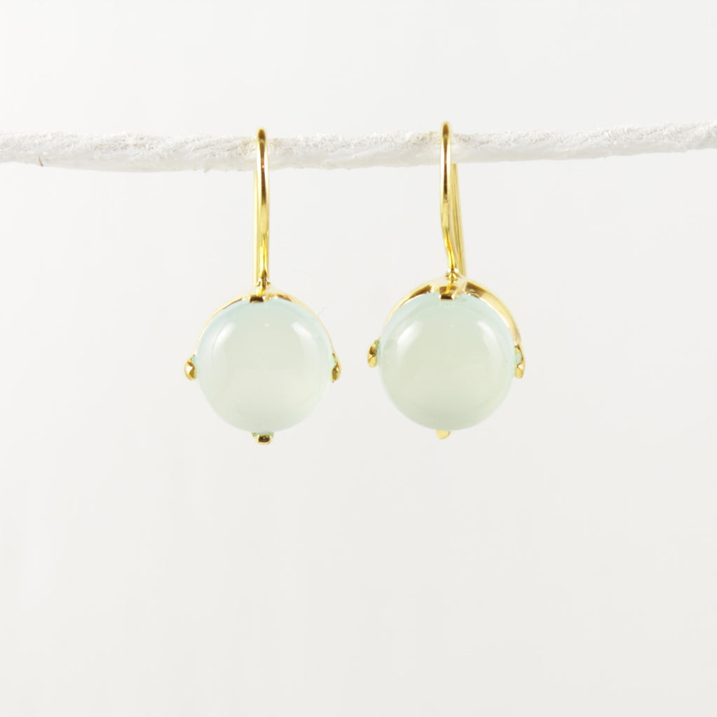 Sorbet Milky Aquamarine Earrings Gold  Connie And Vi  2