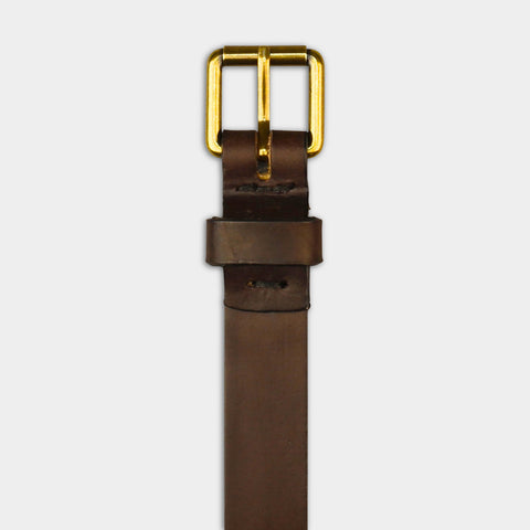 NARROW ROLLER BUCKLE BELT - Brown