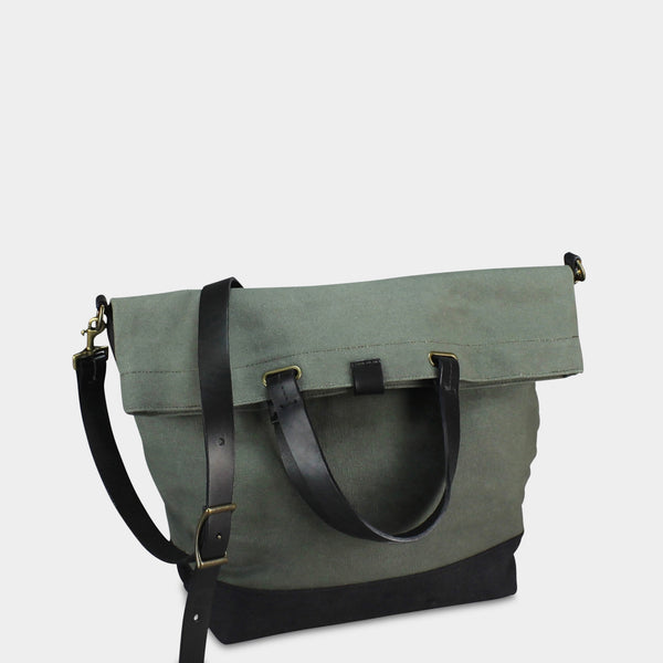 LARGE MESSENGER BAG - Olive/Black